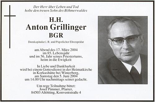 Parte Antona Grillingera, k jehož kněžskému jubileu vydala dějiny domovské farnosti