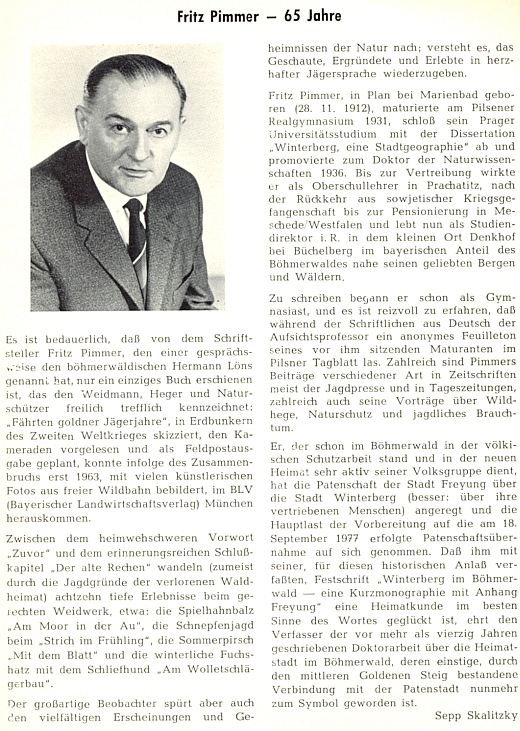 Pozdrav k jeho životnímu jubileu napsal pro krajanský měsíčník Sepp Skalitzky