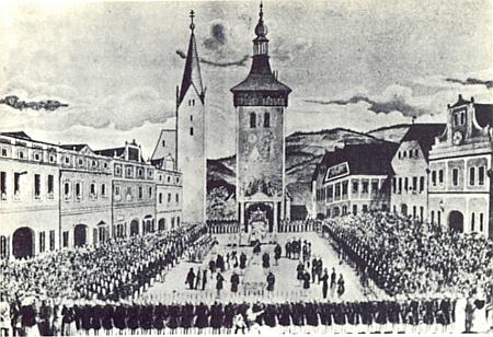 """Ilustrace k jeho krátké monografii města Vimperk znázorňuje přísahu """"národní gardy"""" v roce 1848 na zdejším """"rynku"""", německy zvaném """"Ringplatz"""""""
