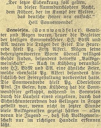 Zpráva o nacistických oslavách letního slunovratu za aktivní účasti jeho a Fritze Alferiho