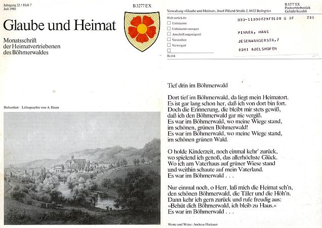 Z jeho pozůstalosti má Jihočeská vědecká knihovna několik ročníků krajanského časopisu - na jedné z obálek je Pinnerova tehdejší adresa hned vedle šumavské hymny a litografie s adresátovým rodným Vyšším Brodem podle obrazu Augusta Hauna (1815-1894)