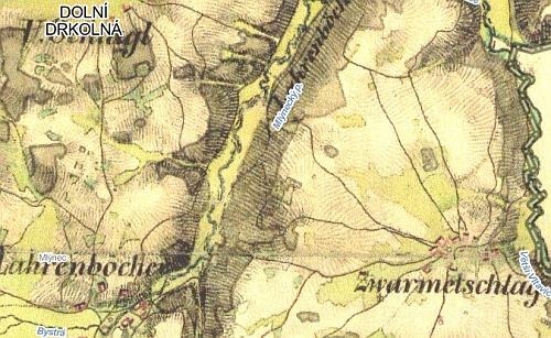 """Svatomírov na staré rakouské vojenské mapě (II. vojenské mapování 1836-1852) a """"U Svatomírova"""" na současné turistické mapě"""