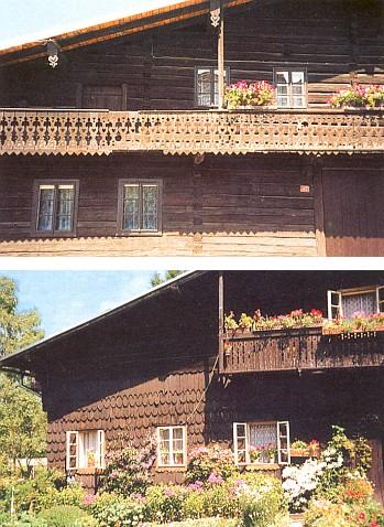 Dva zachované štíty volarských domů a ukázky ukončení vaznic a pozednic objevujících se i jinde ve štítech šumavských chalup