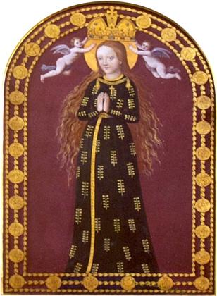 Panna Maria Budějovická po obnově obrazu na konci 20. století