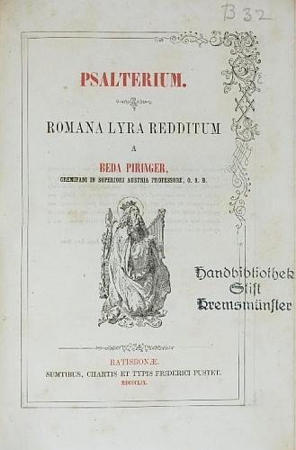 Titulní list jeho další knihy (1859) s razítkem knihovny kláštera v Kremsmünsteru