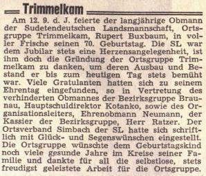 Připomínka sedmdesátin jejího otce na stránkách rakouského krajanského listu