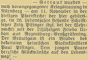 Zpráva o válečné svatbě jeho bratra, sazeče Fritze Pisingera, ve Vimperku 11. listopadu 1941