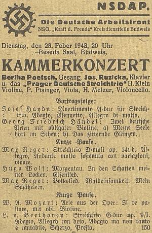 Pozvánka na komorní koncert v protektorátních Budějovicích pod patronací NSDAP