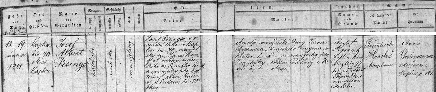 Záznam o narození otcově v kaplické křestní matrice