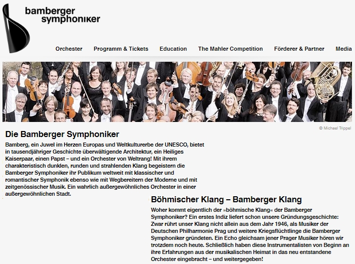 """Záhlaví webových stránek Bamberských symfoniků, orchestru, který se honosí tím, že má """"český zvuk"""", díky tomu že ho v roce 1946 založili němečtí vyhnanci"""