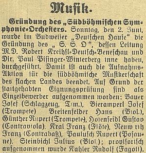 Zpráva o založení S.S.O. (Südböhmischer-Orchester) v Německém domě v Českých Budějovicích 2. června 1935 také za jeho vedení