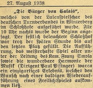 """Na nádvoří vimperského zámku se za hudebního doprovodu, který řídil, konalo ve vypjatých srpnových dnech roku 1938 ochotnické představení místních turnerů pod širým nebem, nazvané """"Die Bürger von Calais"""", tj. """"občané z Calais"""""""