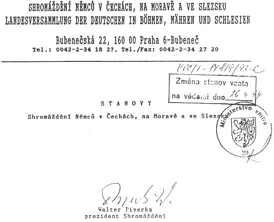 Záhlaví stanov Shromáždění Němců v Čechách, na Moravě a Slezsku a jeho podpis na konci textu