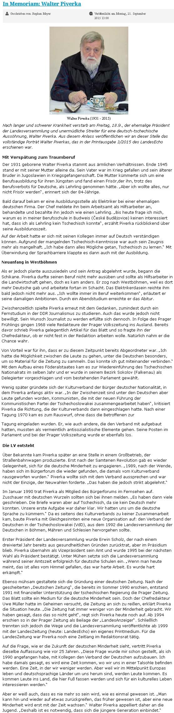 Nekrolog v německém pražském listu napsal Stephan Meyer