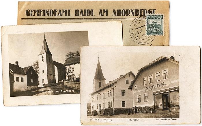 V albu šumavských pohlednic najdeme kostel a faru ve Zhůří pod Javornou i s obálkou obecního úřadu a českým poštovním razítkem