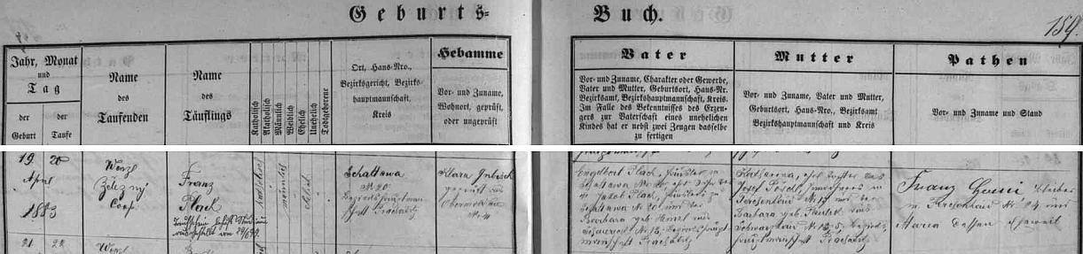 Podle záznamu křestní matriky farní obce Horní Vltavice narodil se v Zátoni (Schattawa) chalupníku Engelbertu Plachovi (i jeho otec chalupničil na témže čp. 20, matka Barbara, roz. Heinzlová, pocházela ze Scheuerecku /Stodůlky, nověji zaniklý Žďárek/ čp. 13) a jeho ženě Katharině, dceři Josefa Pöschla z Borových Lad (Ferchenhaid) čp. 17 a Barbary, roz. Paulikové ze zaniklých dnes Černých Lad (Schwarzhaid) čp. 5