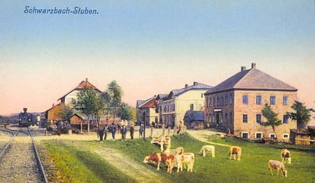 Nádraží Černá v Pošumaví - Hůrka na staré pohlednici a dnes (2012)