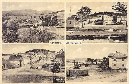 Pohlednice z Hůrky, jak vyhlížela kdysi: kaple zmizela pod hladinou přehradního jezera a z nedalekého vršku je dnes ostrůvek v něm...