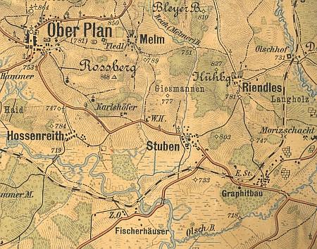 ...a výřez ze staré mapy s lesnatým návrším mezi Hůrkou a tokem Vltavy, než jeho vlny zvedla Lipenská přehrada