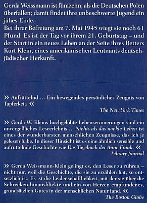 Zadní strana obálky jednoho z jiných vydání její knihy (Bleicher Verlag, Gerlingen 1999), kterých už se dá napočítat téměř padesát