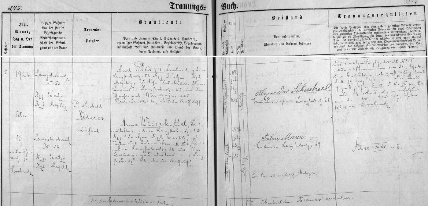 Záznam o svatbě rodičů v oddací matrice Horní Stropnice