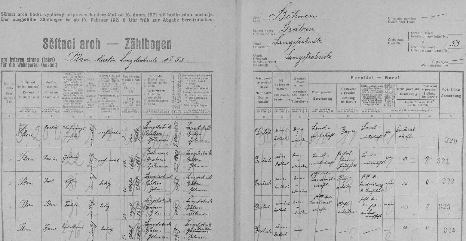 Arch sčítání lidu z roku 1921 pro stavení čp. 53 v Dlouhé Stropnici s rodinou Planovou včetně syna Karla, Hansova otce