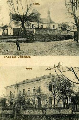 Pohlednice nýrského fotografa F. Kocha z roku 1913 zachycuje dešenický kostel a školu