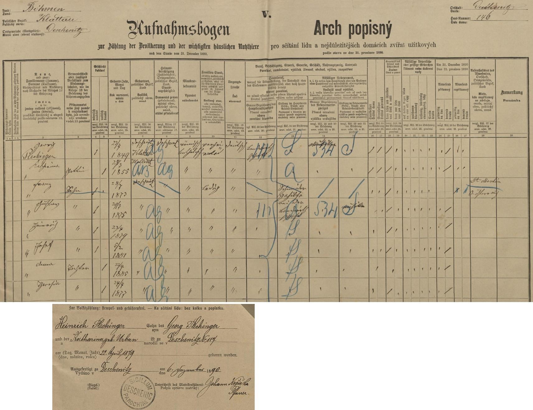 Arch sčítání lidu z roku 1890 pro dům čp. 146 v Dešenicích s rodinou Plechingerovou včetně lístku s podrobným záznamem o něm