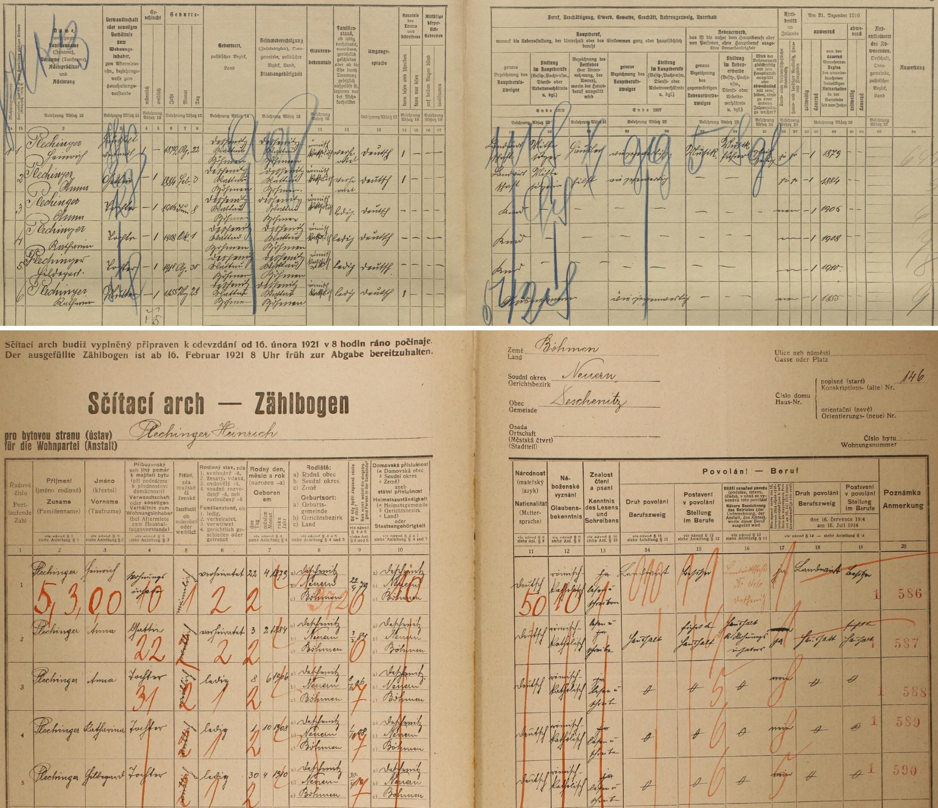Na arších sčítání lidu z let 1910 a 1921 je Heinrich Plechinger uveden jako majitel domu