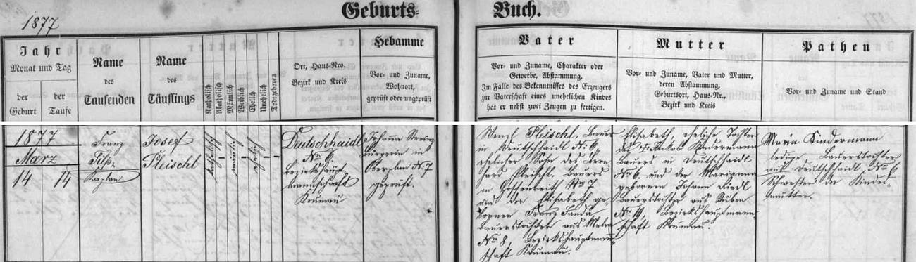 Záznam o narození jeho otce Josefa Pleischla v Maňavě na stránkách hornoplánské křestní matriky