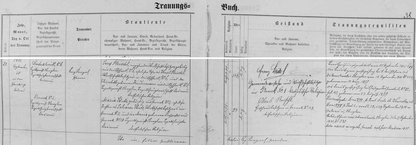 Záznam o svatbě jeho rodičů 30. září 1901 v želnavské oddací matrice