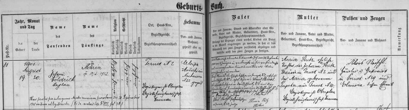 Záznam želnavské matriky o narození Augustovy sestry Marie, legitimizované až pozdějším sňatkem Josefa Pleischla s Marií Stutzovou