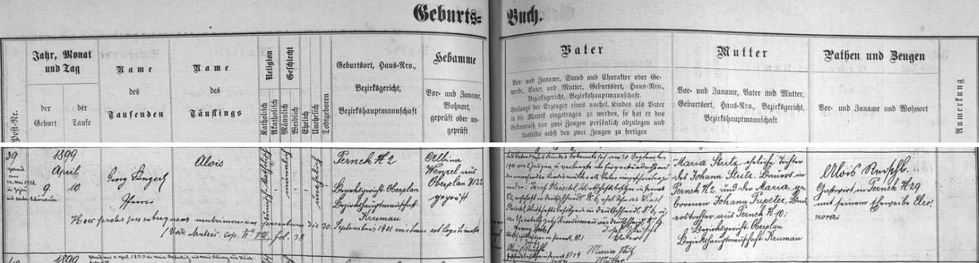 Záznam želnavské matriky o narození Augustova bratra Aloise Pleischla v Perneku čp. 2, legitimizovaného opět až pozdějším sňatkem Josefa Pleischla s Marií Stutzovou