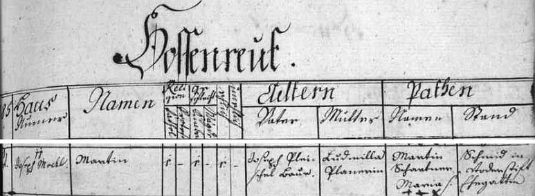 """Záznam o jeho křtu 11. října 1787 v Horní Plané poté, co se 10 t.m. narodil v blízkém Jenišově (Hossenreut) rolníku Josephu Pleischlovi a jeho ženě Ludmille, roz. Plonerové (zde psáno """"Planerin"""")"""