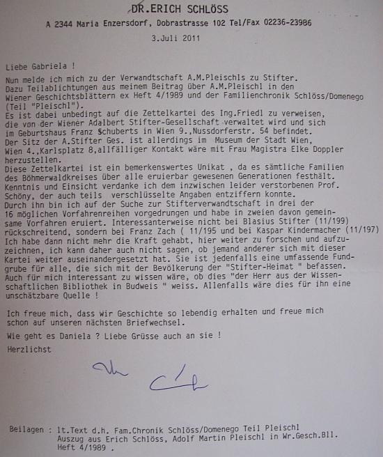 Dopis Dr. Ericha Schlösse paní Gabriele Kalinové o vztazích Pleischlových předků k rodu Stifterovu