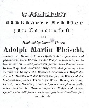 """Titulní list (1836) knihy s """"hlasy vděčných žáků"""" svému učiteli"""