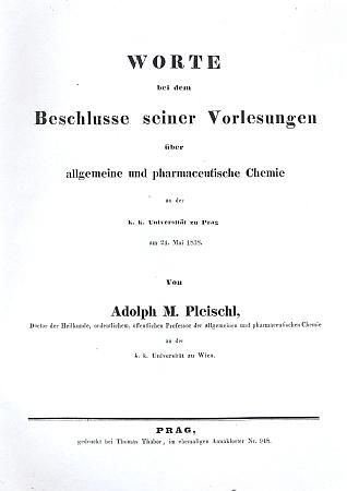 Titulní list (1838) jeho rozloučení s pražskými studenty