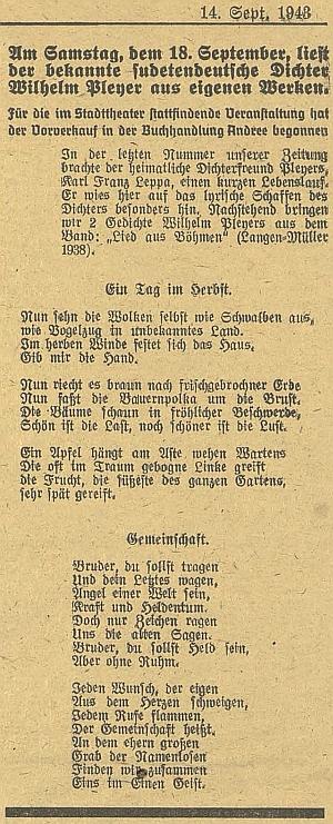 Pozvánka k jeho budějovickému čtení zvlastního díla ve zdejším městském divadle 18.září válečného roku 1943...