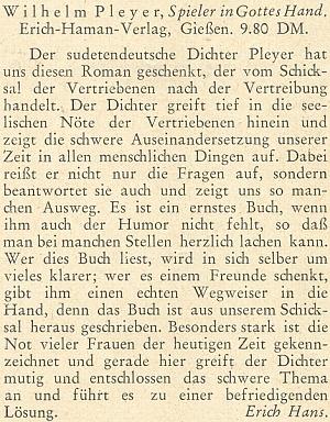 """Recenze jeho knihy """"Spieler in Gottes Hand"""" na stránkách krajanského měsíčníku z února roku 1952, jejímž autorem byl Erich Hans"""