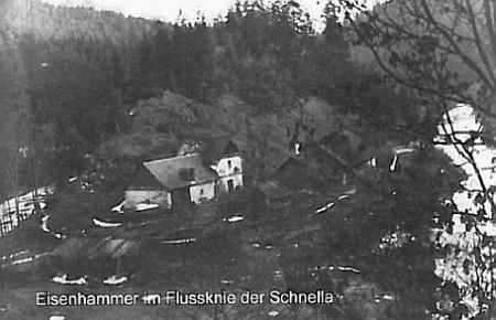 Stará pohlednice, zachycující jeho rodiště při řece Střela (Schnella)