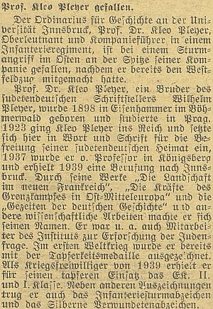 Zpráva o jeho úmrtí na stránkách německého listu vprotektorátních Českých Budějovicích