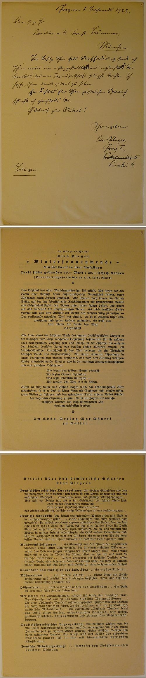 Jeho dopis lexikografovi Franzi Brünnerovi (1836-1923), psaný v Praze roku 1922 adoprovázený referencemi o Pleyerově vstupu do literatury