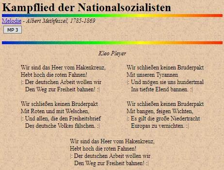 Webové stránky, věnované německých písním, nabízejí kromě textu té jeho neuvěřitelné písně i melodii, převzatou ovšem od Alberta Methfessela (1785-1869)g