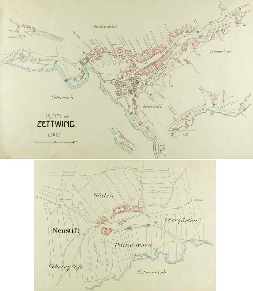 Podle úvodu německy psané kroniky obce Cetviny kreslil tyto dva plánky právě on