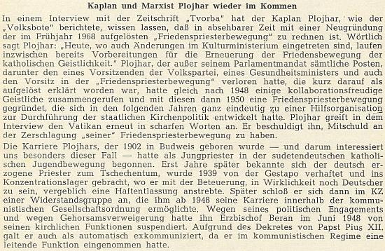 """Svědectví o jeho kariéře z krajanského """"diecézního"""" časopisu (tehdy ještě čtrnáctideníku) v roce 1970"""
