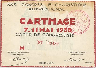 Účastnická karta Světového eucharistického kongresu vKartágu 1930