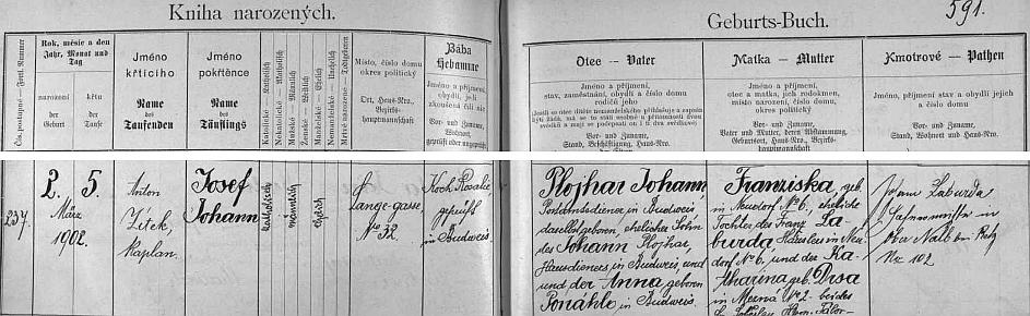 Podle německého záznamu (vedle všech českých kolem) o jeho narození v českobudějovické matrice byl otec Johann Plojhar poštovním posluhou a synem domovního posluhy Johanna Plojhara v Budějovicích (babička z otcovy strany byla roz. Ponáhlo), matka Franziska, roz. Laburdová, pocházela z Nové Vsi (babička z matčiny strany roz. Drsa/!/, byla z Mezné u Soběslavi), svědek Laburda přijel z rakouského Ober Nalb u Retzu