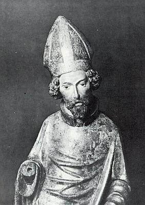 Svatý Mikuláš z farního kostela vRožmberku nad Vltavou, polychromová skulptura zlipového dřeva, vzniklá někdy kolem roku 1380, dnes součást sbírek pražské Národní galerie