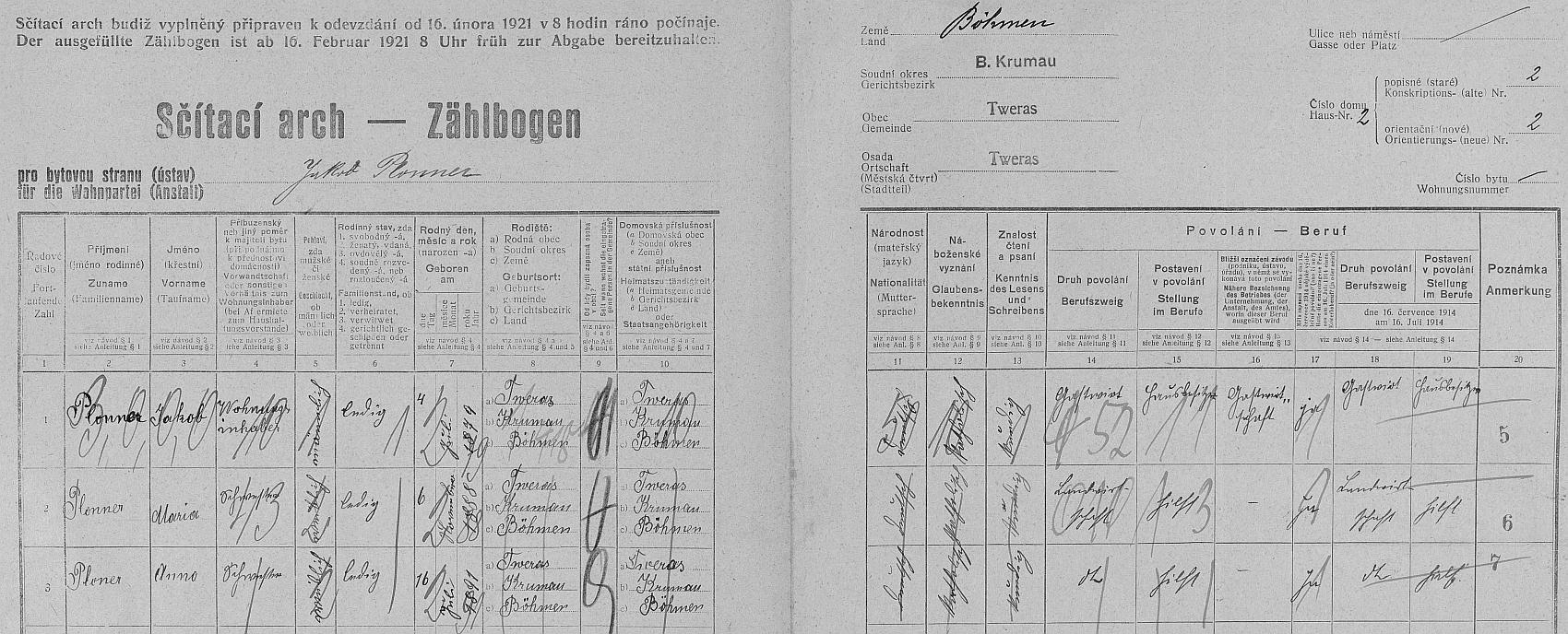 Arch sčítání lidu z roku 1921 pro stavení čp. 2 ve Svérazi s ještě svobodným tatínkem jako majitelem a jeho sestrami