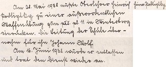 Záznam z kroniky německé obecné školy v Hartmanicích o jeho nástupu na vojenské cvičení k 11. pěšímu pluku ve Vimperku     koncem května dramatického roku 1938 a o opětovném nástupu do funkce řídícího učitele v půli června